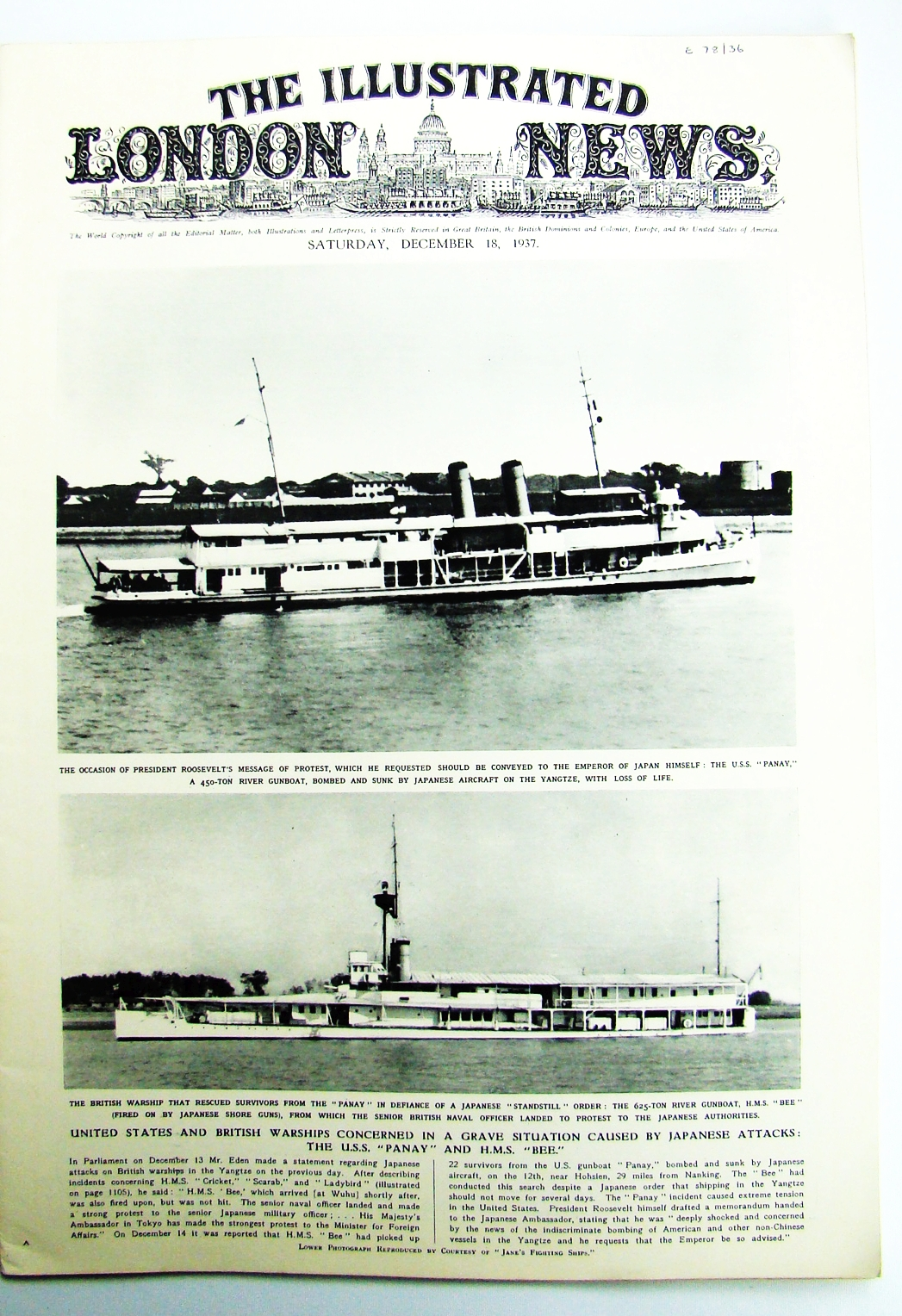 Image for The Illustrated London News, Saturday, December [Dec.] 18,1937 - Cover Photos of the U.S.S.'Panay' and H.M.S. 'Bee', Both Attacked By the Japanese