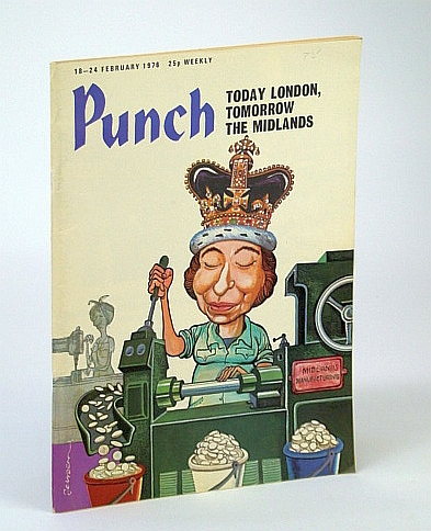 Image for Punch Magazine, 18-24 February (Feb.) 1976 - Cover Cartoon of QE II Minting Coins