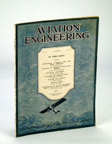 Image for Aviation Engineering (Magazine) - The Technical Journal of the Aeronautical Industry, December (Dec.) 1929 - Aircraft Radio / Economics of Airplane Sales