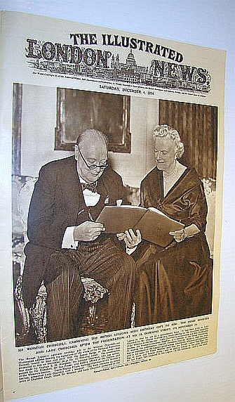 Image for The Illustrated London News (ILN) Magazine, December 4, 1954 -  Cover Photo of Sir Winston and Lady Churchill
