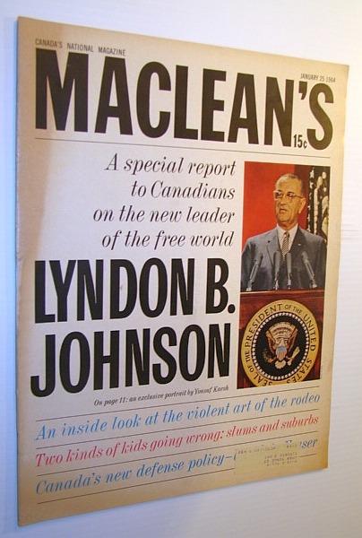 Image for Maclean's Magazine, 25 January 1964 - Lyndon B. Johnson Cover Photo