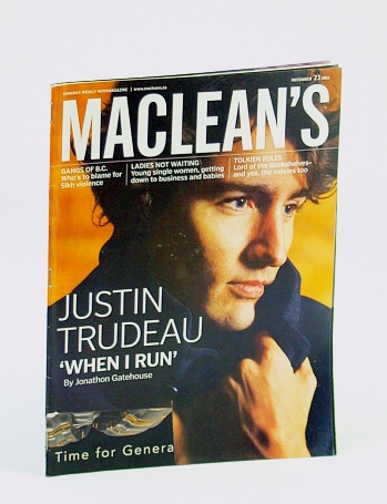 Image for Maclean's, Canada's Weekly Newsmagazine, December (Dec.) 23, 2002 - Justin Trudeau Cover Photo