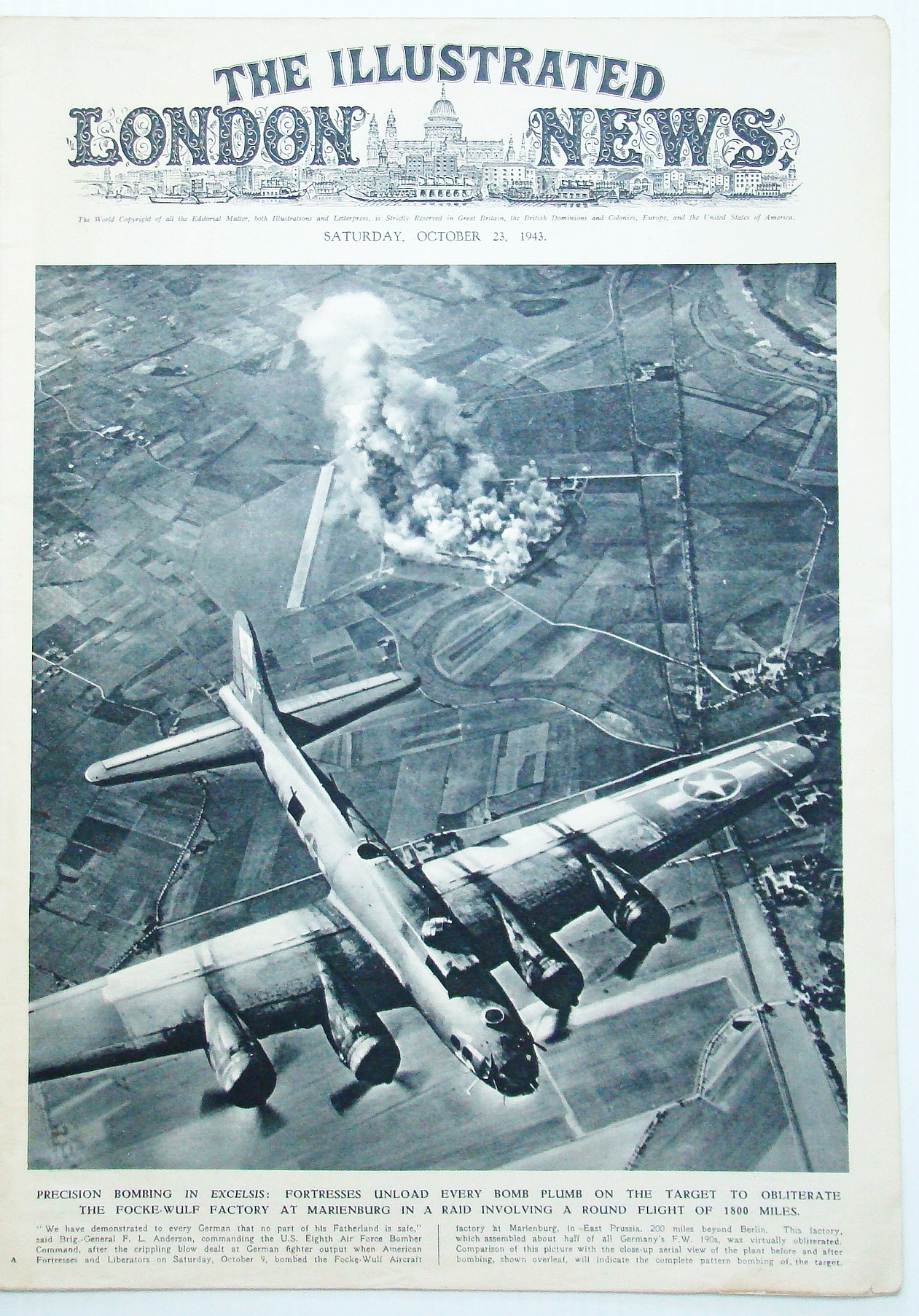 Image for The Illustrated London News (ILN), October (Oct.) 23, 1943 - Precision Bombing of Focke-Wulf Factory at Marienburg
