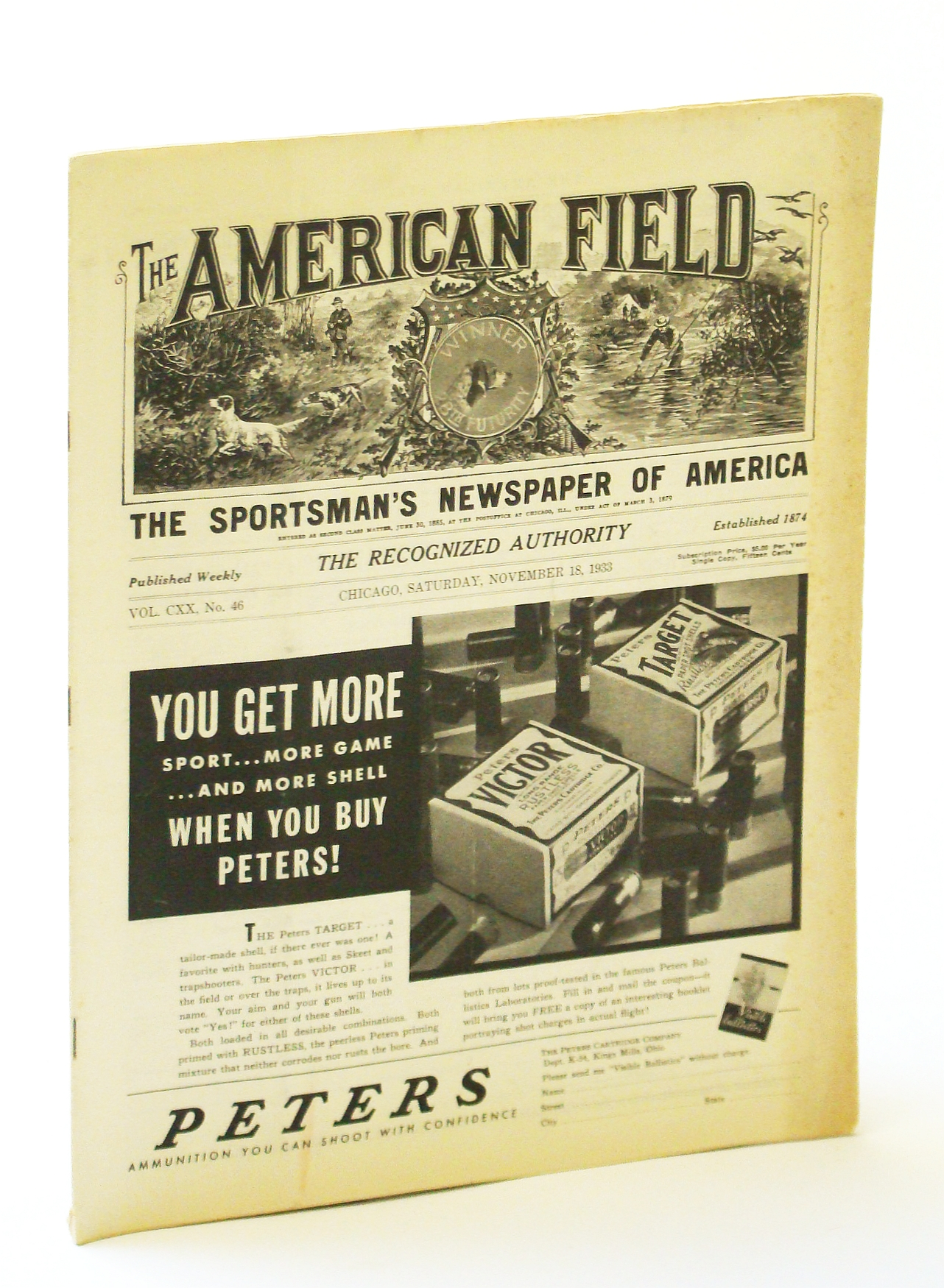 Image for The American Field - The Sportsman's Newspaper [Magazine] of America, November [Nov.] 18, 1933, Vol. CXX, No. 46 - Conditions Threaten Wild Fowl Extermination