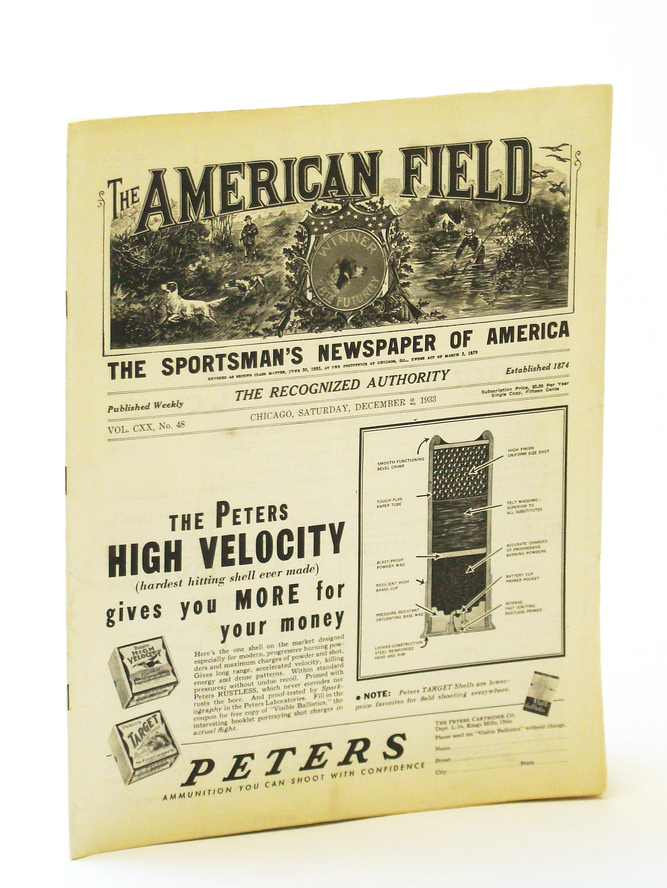 Image for The American Field - The Sportsman's Newspaper [Magazine] of America, December [Dec.) 2, 1933, Vol. CXX, No. 48 - American Jack Snipe Society