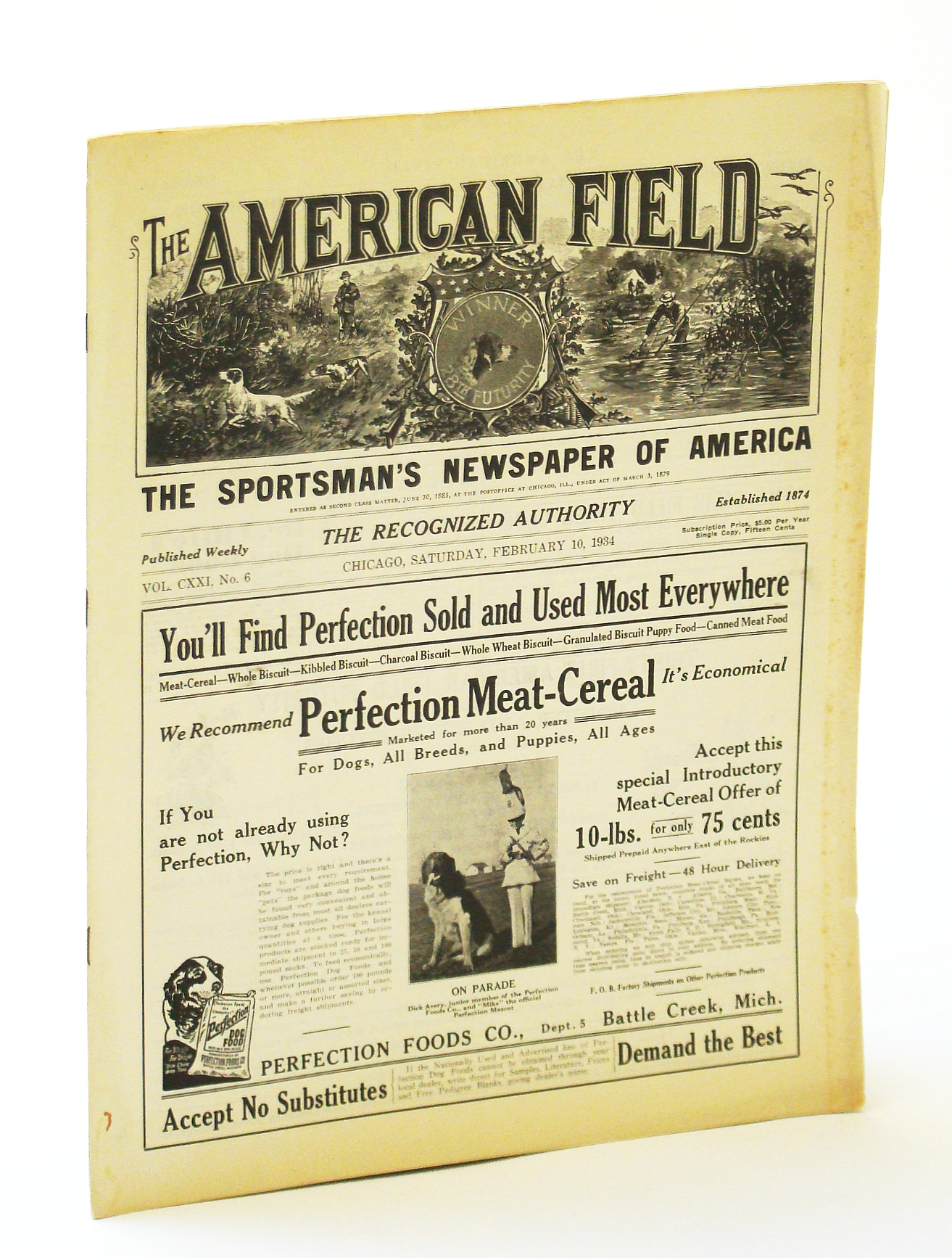 Image for The American Field - The Sportsman's Newspaper [Magazine] of America, February (Feb.) 10, 1934, Vol. CXXI, No. 6 - Up and Down the Stubble Field