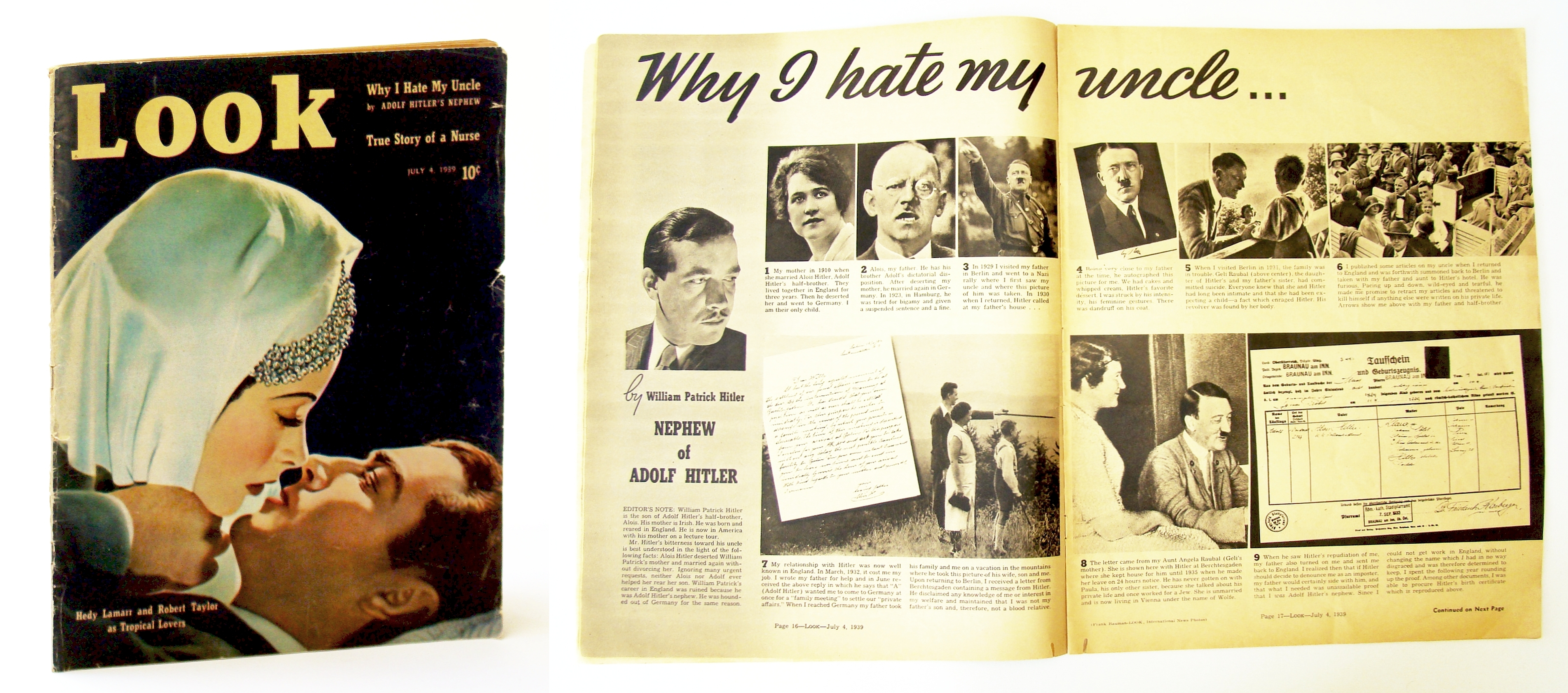 Image for Look Magazine, July 4, 1939 - Why I Hate My Uncle, By Adolph Hitler's Nephew