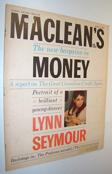 Image for Maclean's, Canada's National Magazine, August 10, 1963 - Cover Photo of Dancer Lynn Seymour
