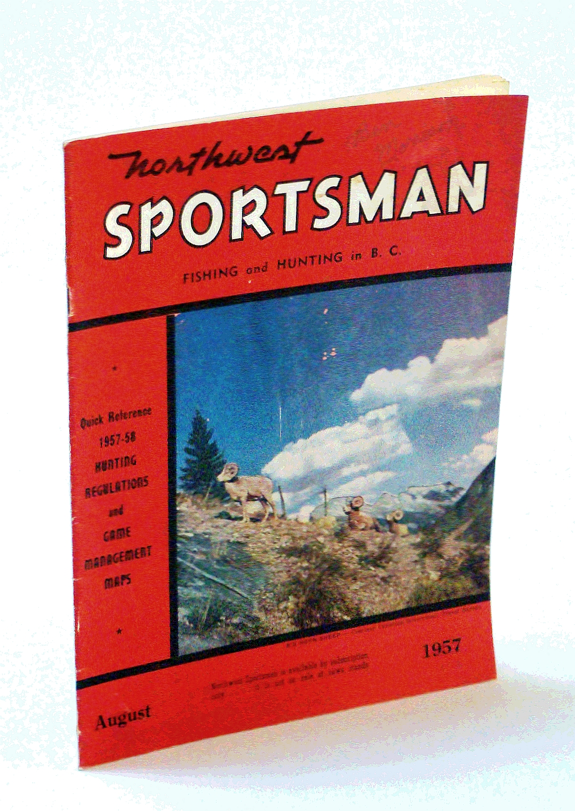 Image for Northwest Sportsman Magazine - Fishing and Hunting in B.C., August [Aug.] 1957 - 1957-58 Hunting Regulations and Game Management Maps (Quick Reference)