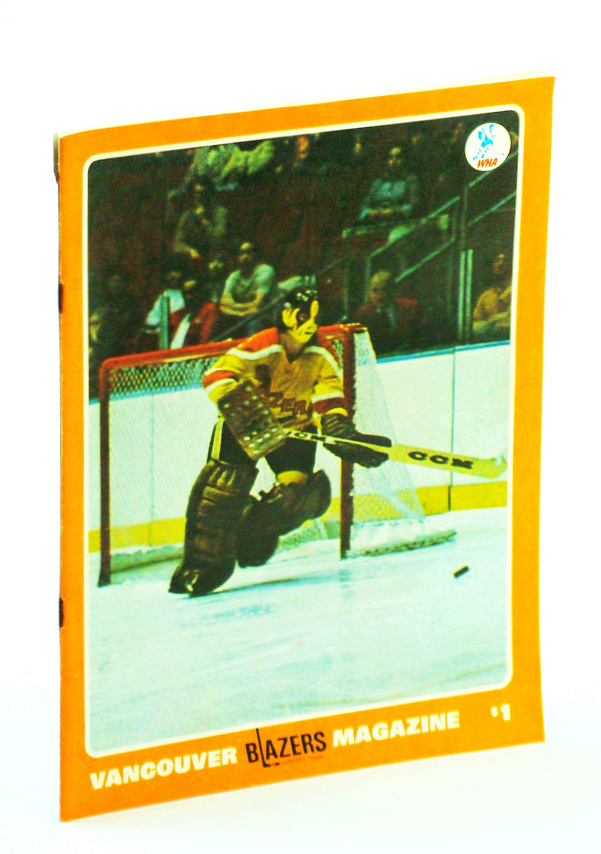 "Image for Vancouver Blazers Magazine, Volume II, Issue No. 28, February 12, 1975 : Cover Photo of Blazer Goalie Don ""Smokey"" McLeod"