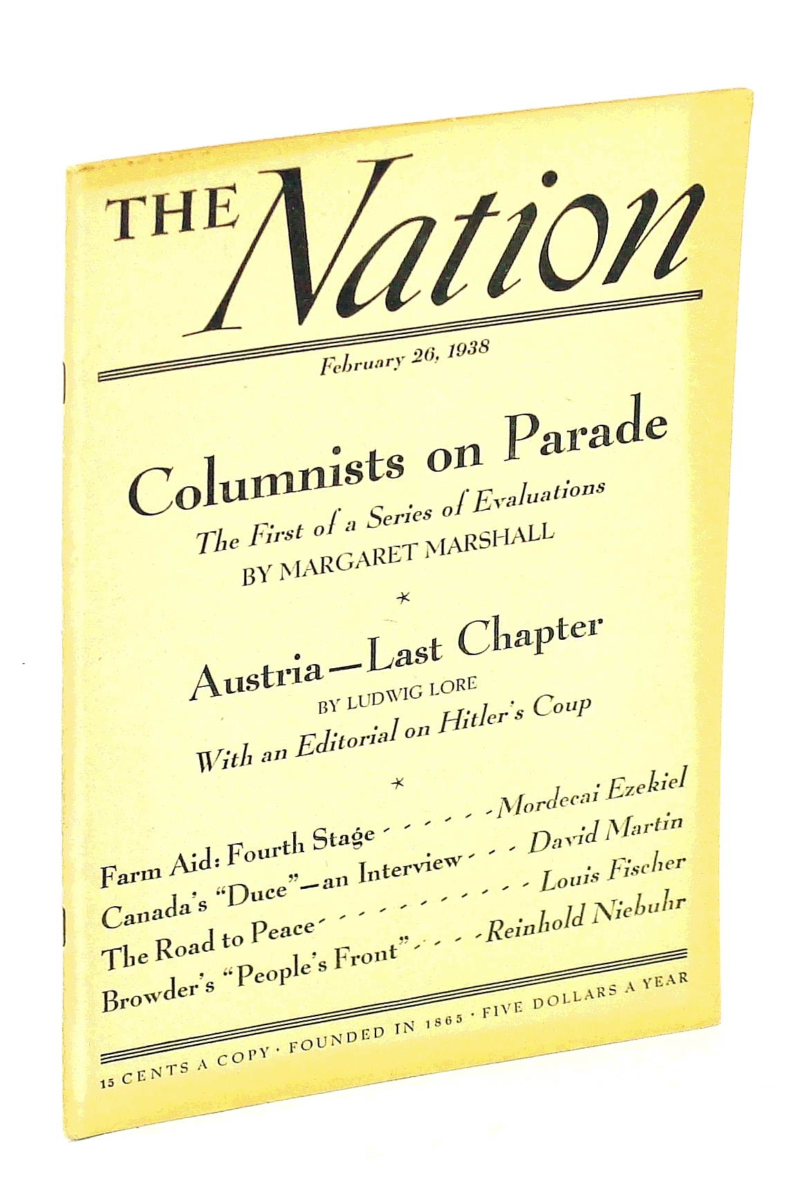 Image for The Nation [Magazine], Febuary [Feb.] 26, 1938 - Adrien Arcand Interview