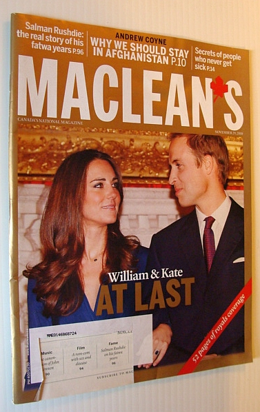 Image for Maclean's Magazine, 29 November 2010 - William and Kate Cover