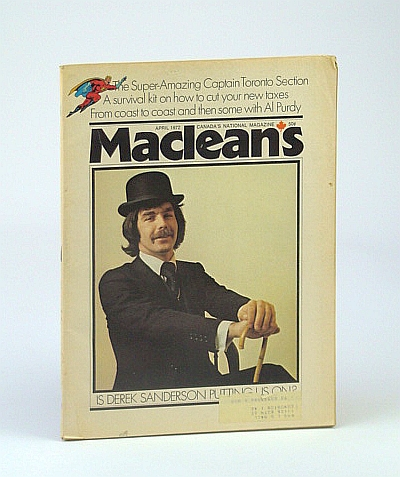 Image for Maclean's - Canada's National Magazine, April (Apr.) 1972 - Derek Sanderson Cover Photo / Great Articles About Toronto