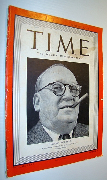 Image for Time Magazine, February 19, 1940 - Cover Photo of John H. Levi, Mayor of Miami Beach
