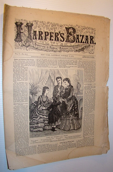 Image for Harper's Bazar (Bazaar) Magazine, October 12, 1872 - A Repository of Fashion, Pleasure, and Instruction