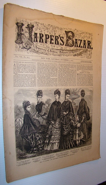 Image for Harper's Bazar (Bazaar) Magazine, November 7, 1874 - A Repository of Fashion, Pleasure, and Instruction